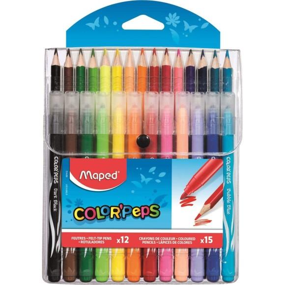Kit ColorPeps Lápis de Cor 15 Cores Canetinhas 12 Cores - Maped