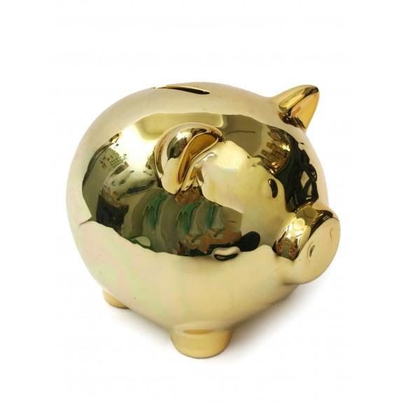 Cofre Decorativo Porquinho Ouro - Zimex