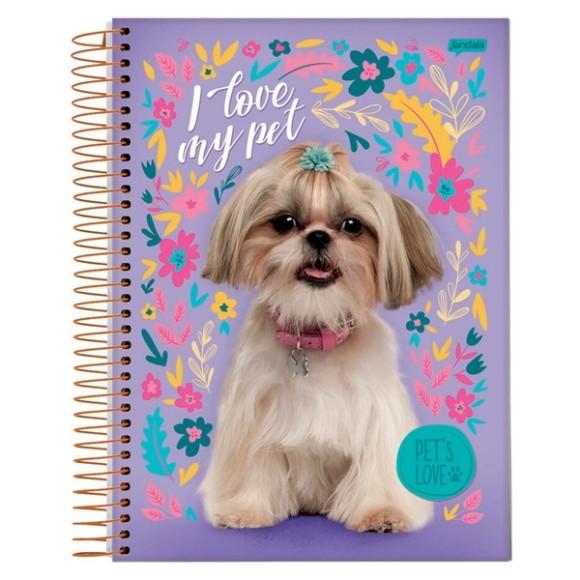 Caderno Espiral Universitário 10 Matérias 200 Folhas  Pet's Love - Jandaia