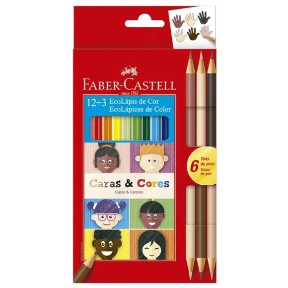 Ecolápis de Cor Caras e Cores 12 + 3 Cores - Faber Castell