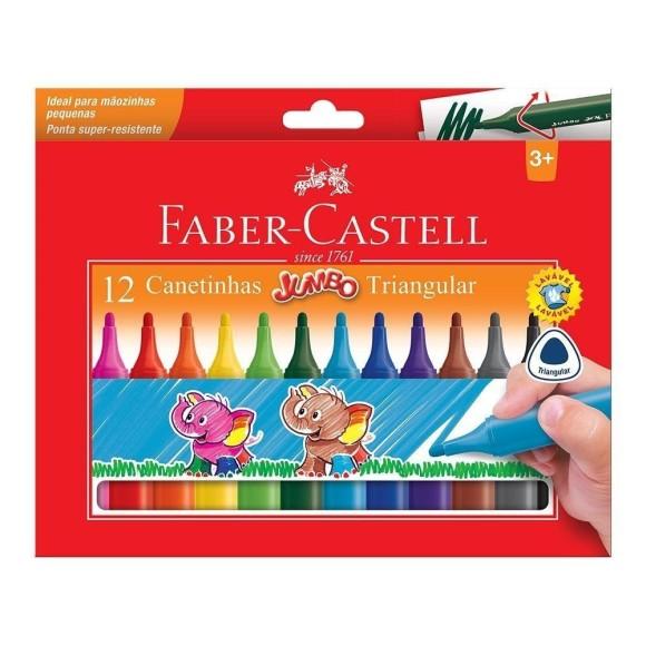 Canetinhas Jumbo Triangular 12 Cores - Faber Castell