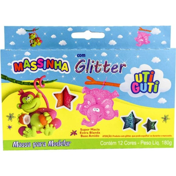 Massinha Para Modelar Com Glitter 12 Cores - Uti Guti