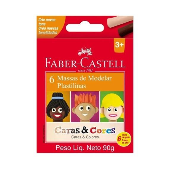 Massa de Modelar Caras e Cores 6 Cores - Faber Castell