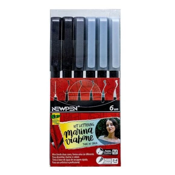 Canetas Pincel Brush Lettering 6 Unidades Tons de Cinza - NewPen