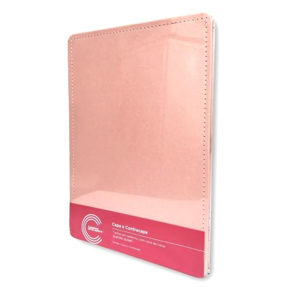 Capa e Contracapa Rosê Pastel Médio - Caderno Inteligente