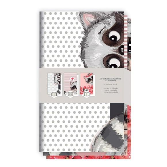 Kit Cadernetas Flexíveis Pet Guaxinim - Redoma