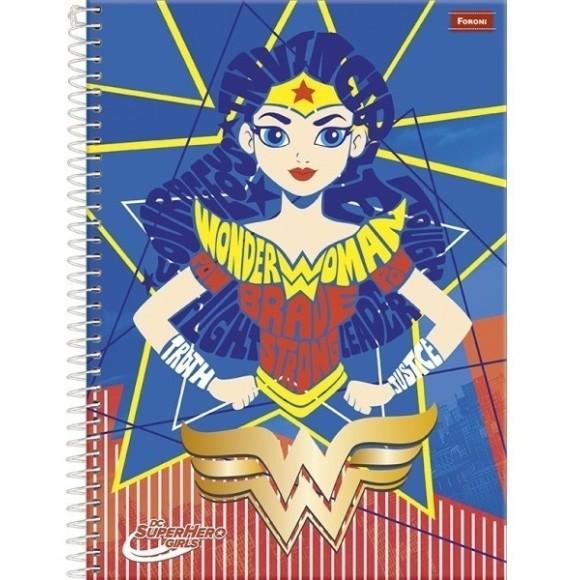 Caderno Espiral Universitário 10 Matérias 200 Folhas Super Hero Girls - Foroni
