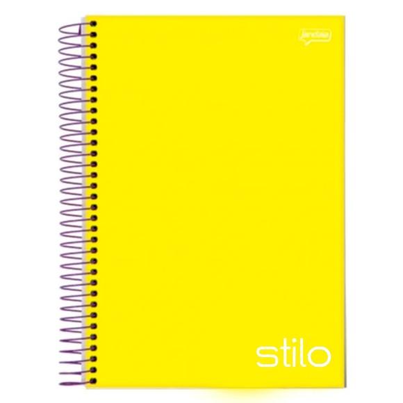 Caderno Espiral Universitário 10 Matérias 200 Folhas Stilo Amarelo - Jandaia