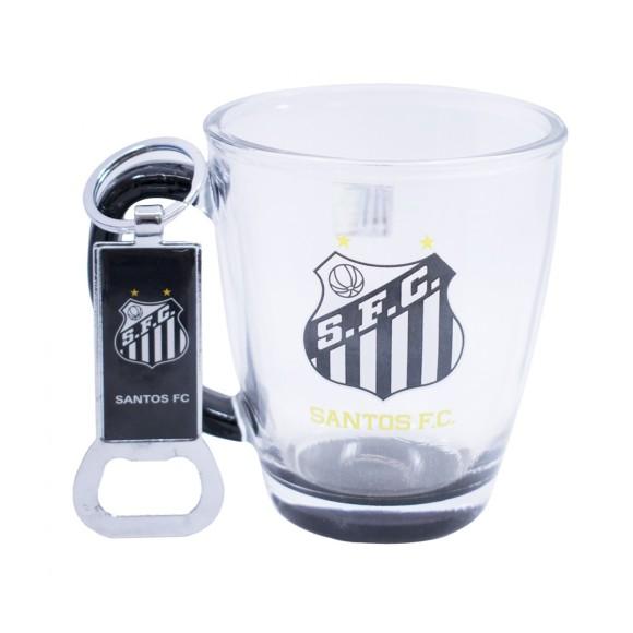Caneca de Vidro Com Abridor de Garrafa Oficial Santos F.C. - Mileno