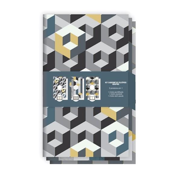 Kit Cadernetas Flexíveis Graphic - Redoma