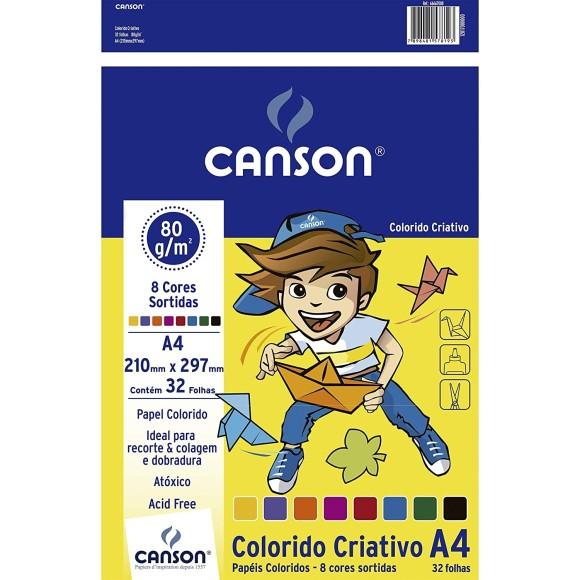 Papel Colorido Criativo A4 80g 32 Folhas 8 Cores - Canson
