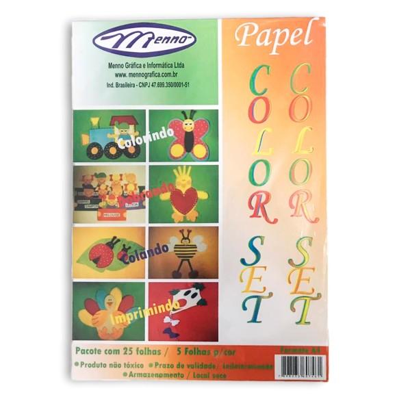 Papel Colorset A4 120g 25 Folhas 5 Cores - Menno