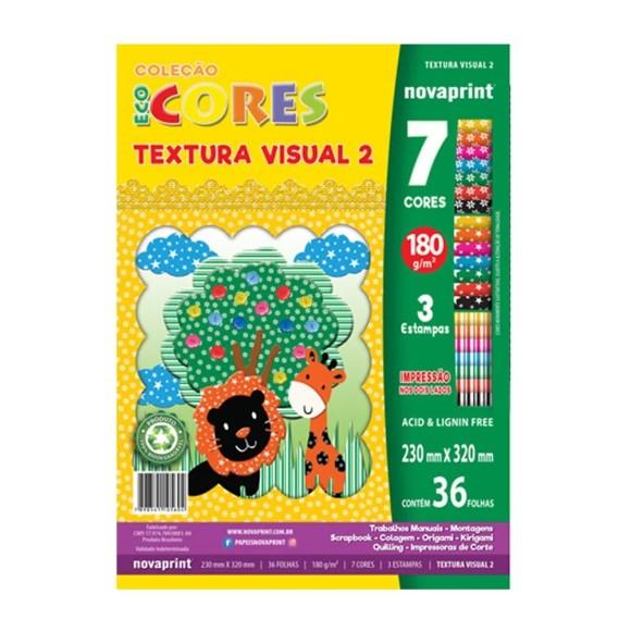 Papel EcoCores Textura Visual 2 180g 36 Folhas 7 Cores 3 Estampas - NovaPrint