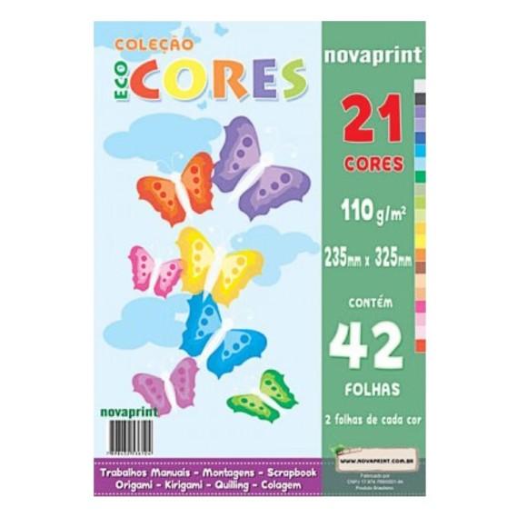 Papel EcoCores 110g 42 Folhas 21 Cores - NovaPrint