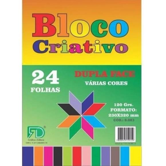 Bloco Criativo Cores 120g 24 Folhas - Gráfica e Editora