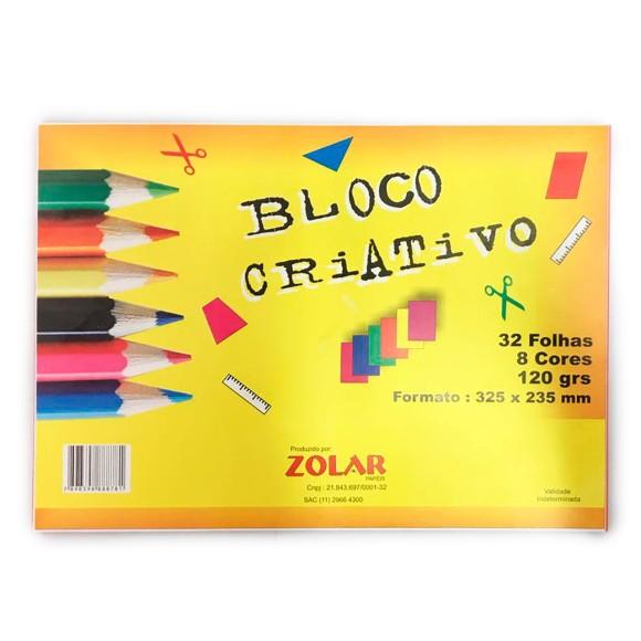 Bloco Criativo 120g 32 Folhas 8 Cores - Zolar Papéis