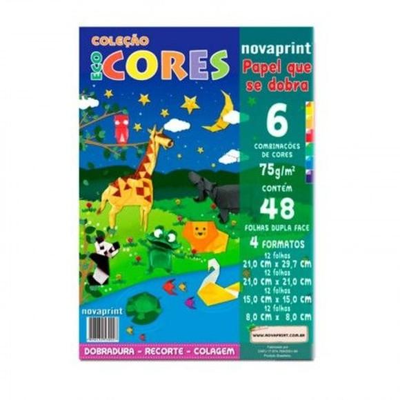 Papel EcoCores Dobradura 75g 48 Folhas 6 Cores 4 Formatos - NovaPrint