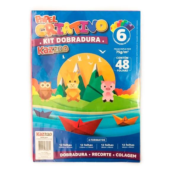 Papel Criativo Kit Dobradura 75g 48 Folhas 6 Cores 4 Formatos - Kaz