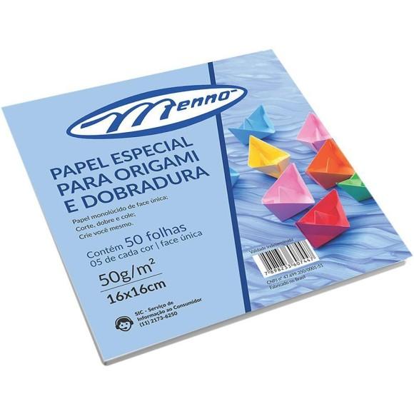 Papel Especial Para Origami e Dobradura 50g 50 Folhas 5 Cores - Menno