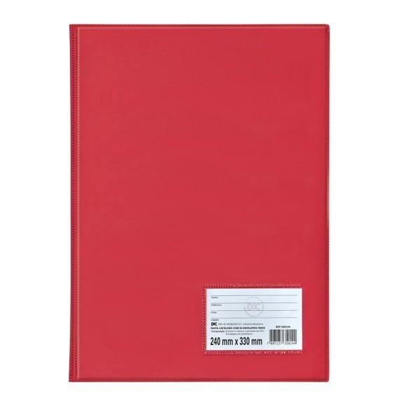 Pasta Catálogo Ofício Com 50 Envelopes Vermelha - Dac
