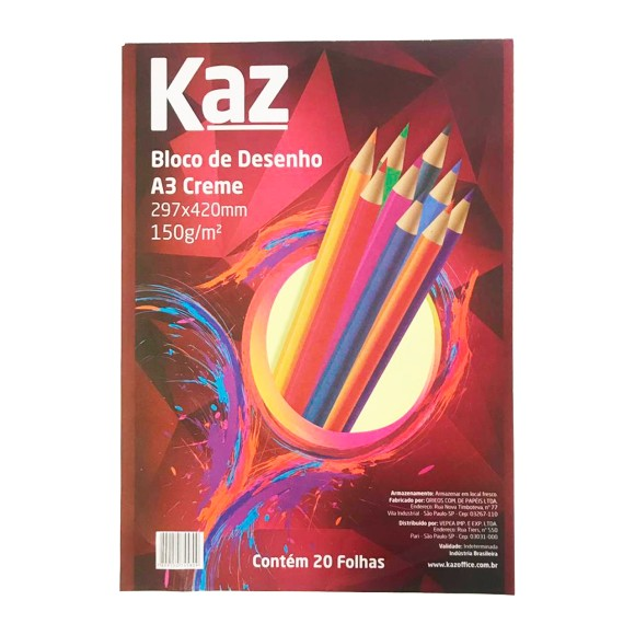 Bloco de Desenho Creme A3 150g 20 Folhas - Kaz