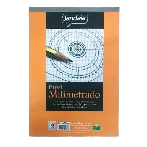 Papel Milimetrado A3 Sem Margem 50 Folhas - Jandaia