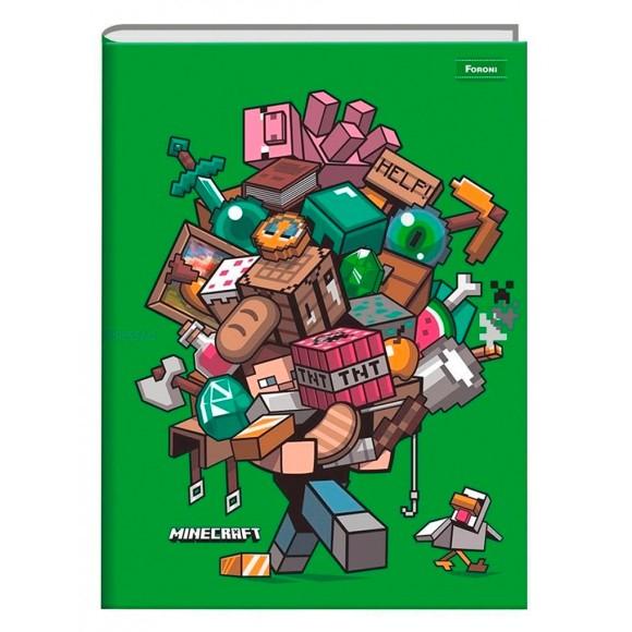 Caderno Brochura Universitário 96 Folhas Minecraft - Foroni
