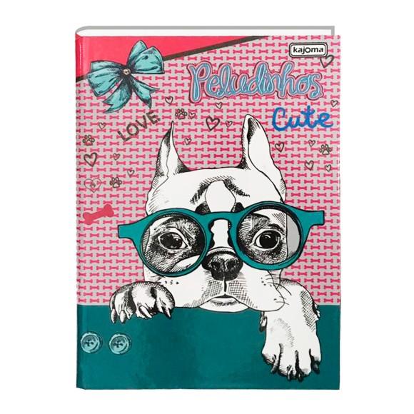 Caderno Brochura 1/4 96 Folhas Peludinhos BullDog - Kajoma
