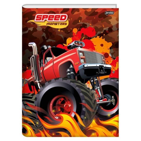 Caderno Brochura 1/4 48 Folhas Speed Monsters - Jandaia