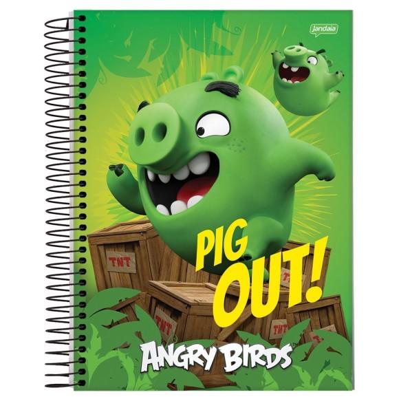 Caderno Espiral Universitário 1 Matéria 96 Folhas Angry Birds - Jandaia
