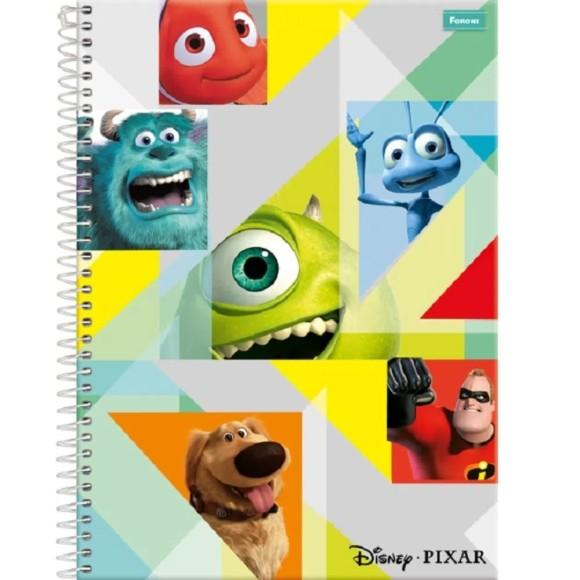 Caderno Espiral Universitário 10 Matérias 200 Folhas Disney Pixar - Foroni