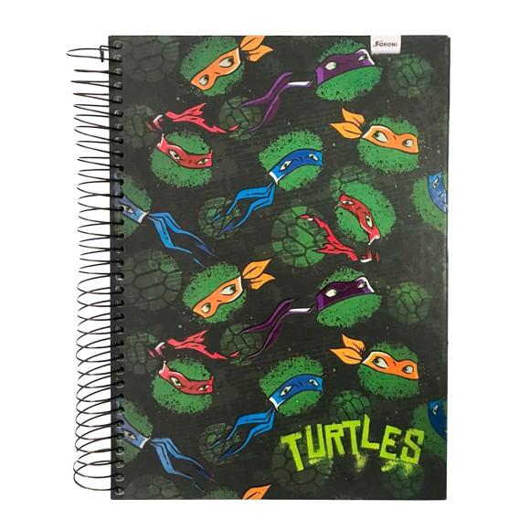 Caderno Espiral Universitário 10 Matérias 200 Folhas Tartarugas Ninjas Nickelodeon - Foroni