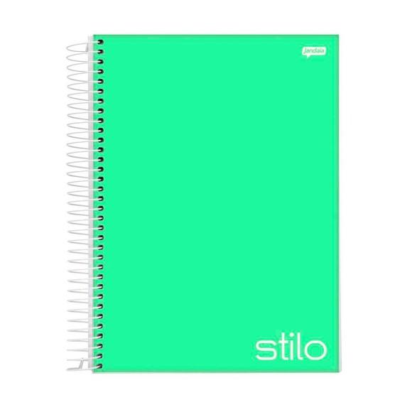 Caderno Espiral 1/4 96 Folhas Stilo Verde Pastel - Jandaia