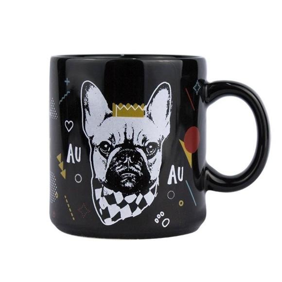 Caneca Preta Cachorro Amor Bulldog - Kathavento