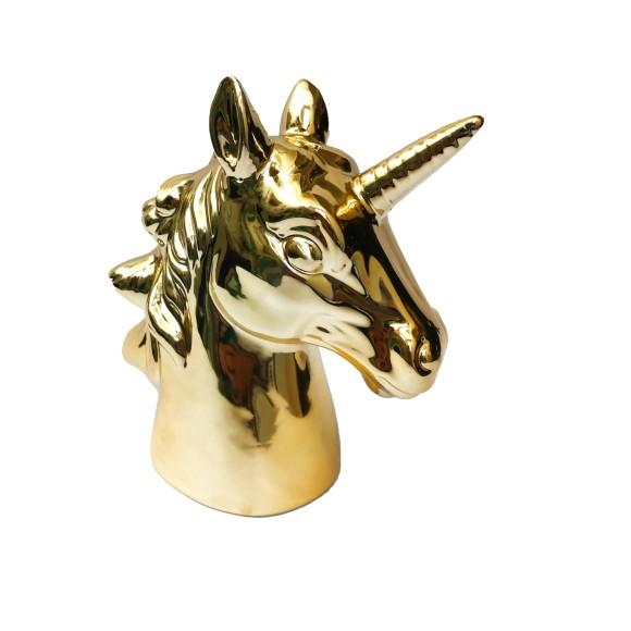 Cofre Decorativo Metalizado Unicórnio Pequeno Dourado - Zimex