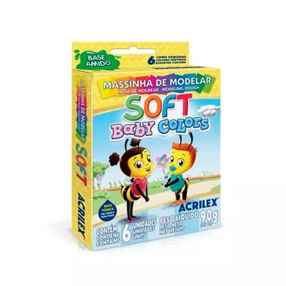 Massinha de Modelar Soft Baby Colors Pastel 6 Cores - Acrilex