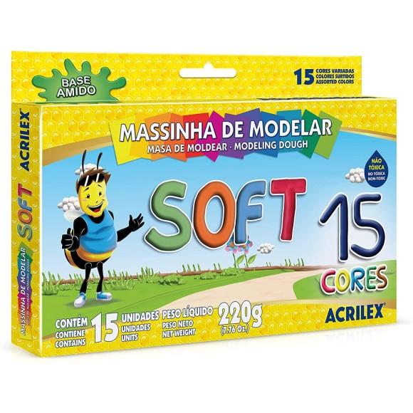 Massinha de Modelar Soft 15 Cores - Acrilex