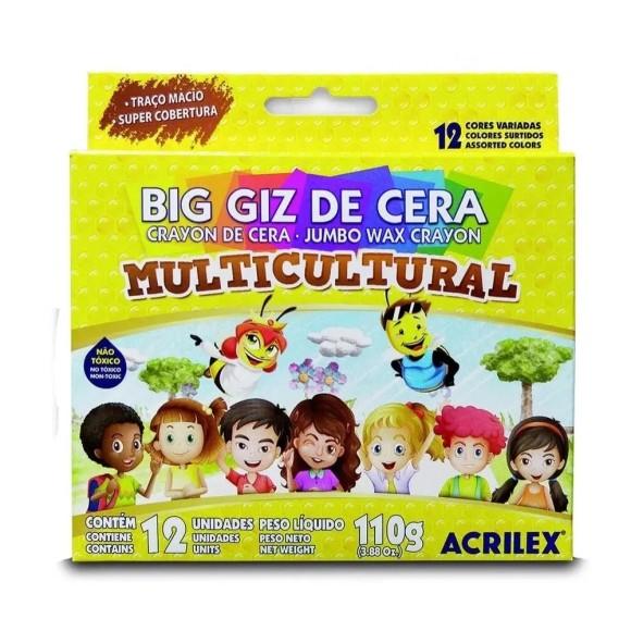 Big Giz de Cera Multicultural 12 Unidades - Acrilex