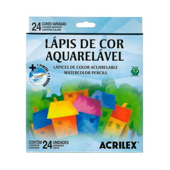 Lápis de Cor Aquarelável 24 Cores + 1 Pincel - Acrilex
