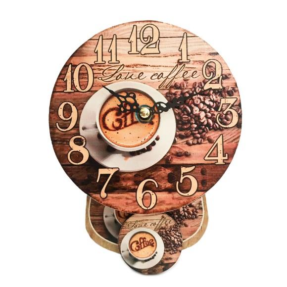Relógio de Parede Com Pêndulo Retrô Coffee - Tomix