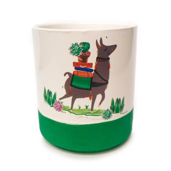 Cachepot Lhama Porcelana Verde - Bras Continental