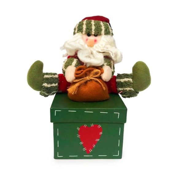 Caixa Para Presente Com Papai Noel de Tecido - NSW