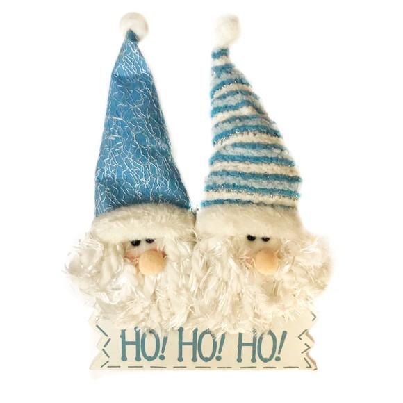 Enfeite de Porta Natalino Papai Noel Azul - Cromus