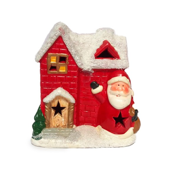 Casa do Papai Noel Decorativa Com Led - Tomix