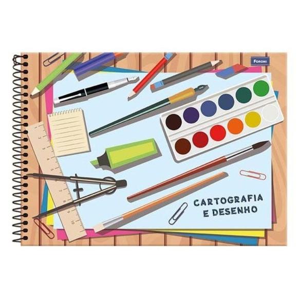 Caderno Cartografia e Desenho Espiral Universitário 48 Folhas - Foroni