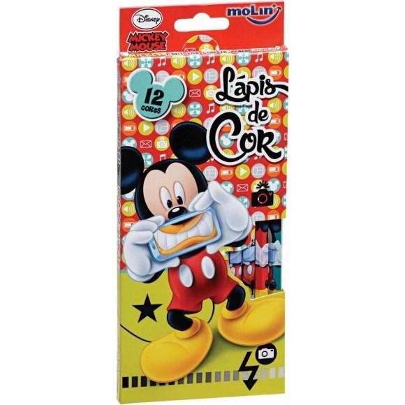 Lápis de Cor 12 Cores Mickey Disney - Molin