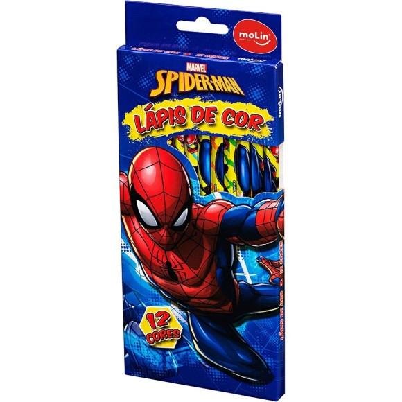Lápis de Cor 12 Cores Homem Aranha - Molin