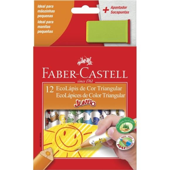 Ecolápis de Cor Triangular Jumbo 12 cores + Apontador - Faber Castell