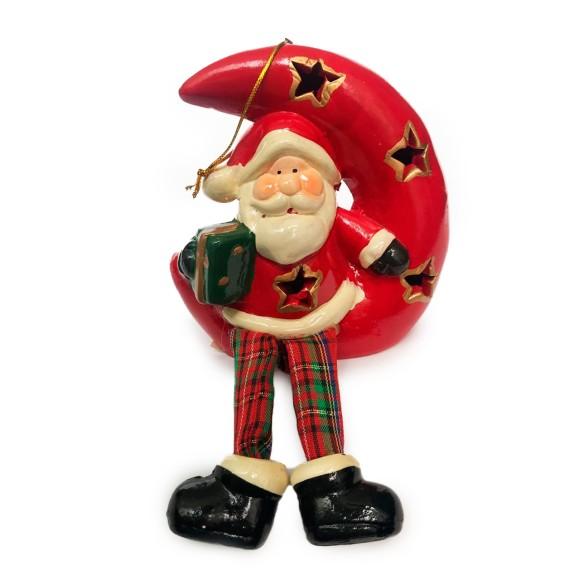 Lua Com Papai Noel Decorativa Com Led - Tomix