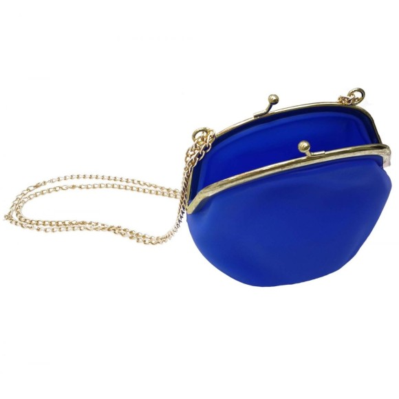 Bolsa de Silicone Tiracolo Com Corrente Dourada Azul Marinho